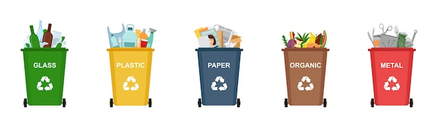 Conjunto de cubos de basura para reciclar diferentes tipos de residuos. clasificación y reciclaje de residuos, ilustración vectorial
