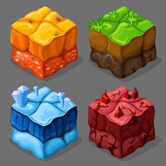 Conjunto de cubos isométricos de dibujos animados