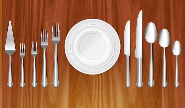 Conjunto de cuchillo, tenedor y cuchara realistas en concepto de cena de mesa o concepto de etiqueta de comer eps vect