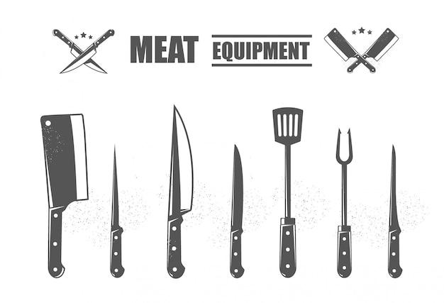 Conjunto de cuchillos de corte de carne. metro