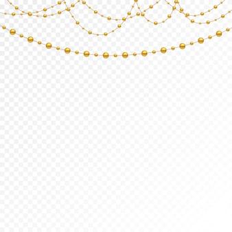 Conjunto de cuentas de oro y cadenas de oro.