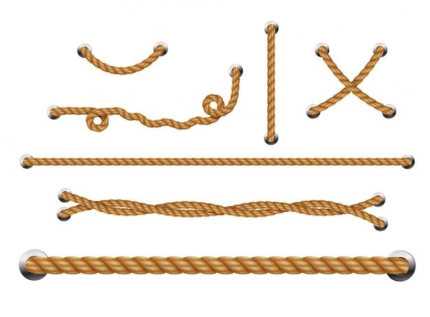 Conjunto de cuerdas enrolladas con agujeros metálicos. hilos de cuerda.
