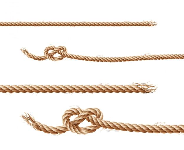 Conjunto de cuerdas marrones realistas, cuerdas retorcidas de yute o cáñamo con lazos y nudos