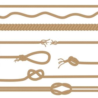 Conjunto de cuerdas y nudos realistas.