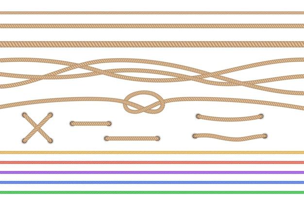 Conjunto de cuerdas rectas aisladas y cuerdas cruzadas atadas