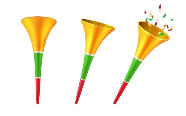 Conjunto de cuernos de fiesta 3d aislados o trompeta de fútbol de dibujos animados con confeti