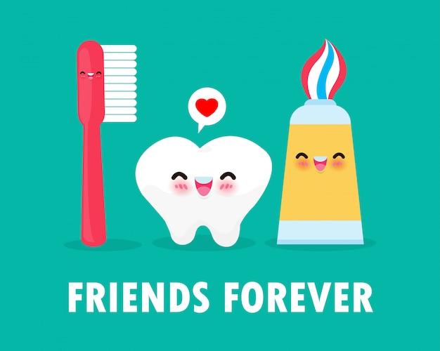 Conjunto de cuidado dental cute cartoon tooth, pasta de dientes