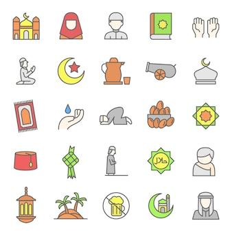 Conjunto de culto islámico y el icono de la cultura árabe
