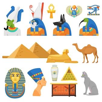 Conjunto de cultura antigua egipcia