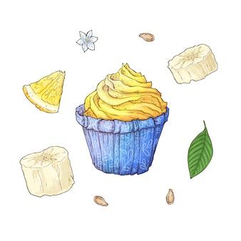 Conjunto de cupcake de banana