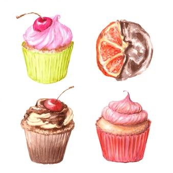 Conjunto de cupcakes acuarelas