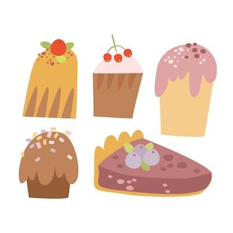Conjunto de cupcakes doodle