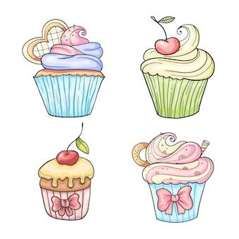 Conjunto de cupcakes, ilustración vintage