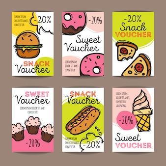 Conjunto de cupones de descuento para comida rápida.