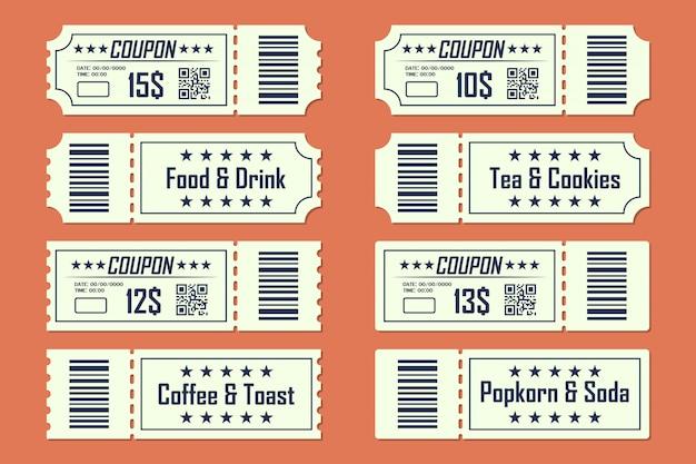 Conjunto de cupones de tarjeta de boleto delante y detrás en un diseño plano. comida y bebida, café y tostadas, té y galletas, palomitas de maíz y refrescos.