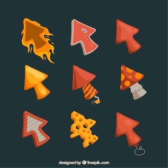 Conjunto de cursors rojos y amarillos