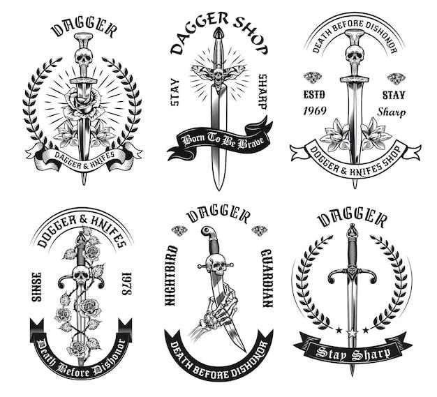 Conjunto de daga blanco y negro