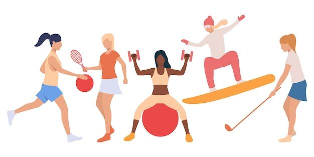 Conjunto de damas activas haciendo deporte.