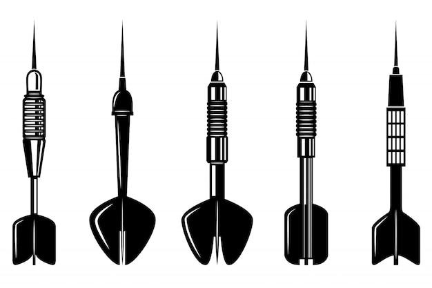 Conjunto de dardos sobre fondo blanco. elementos para logotipo, etiqueta, emblema, signo. ilustración.