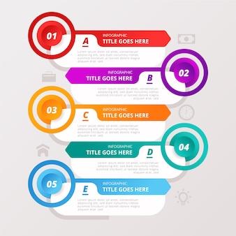 Conjunto de datos coloridos infografía con detalles
