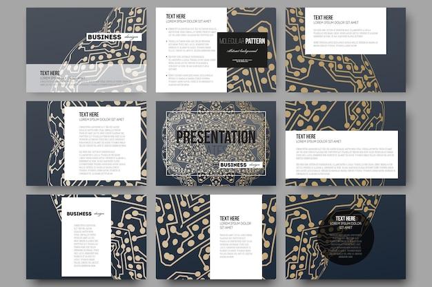 Conjunto de 9 plantillas para diapositivas de presentación.