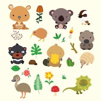 Conjunto de animales de australia