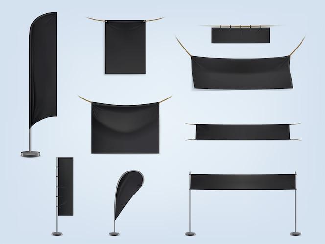 Conjunto de banderas o banderas textiles en blanco negro, estirado y colgante