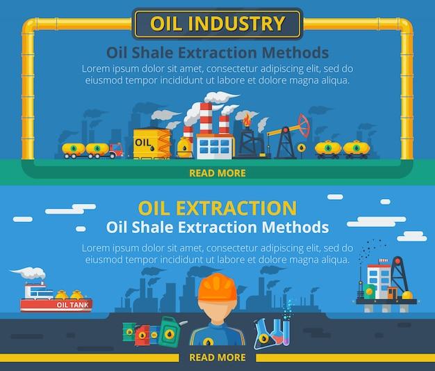 Conjunto de banner de industria petrolera