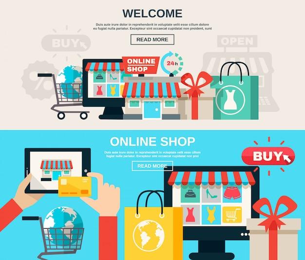 Conjunto de banner plano de internet store