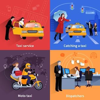 Conjunto de banners 2x2 de sistema de servicio de taxi incluyendo despachadores moto taxi y taxi ordinario