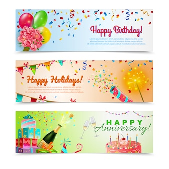 Conjunto de banners de celebración de aniversario de feliz cumpleaños