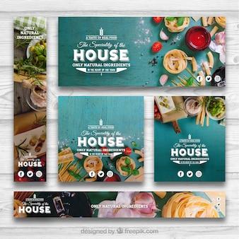 Conjunto de banners de comida sana
