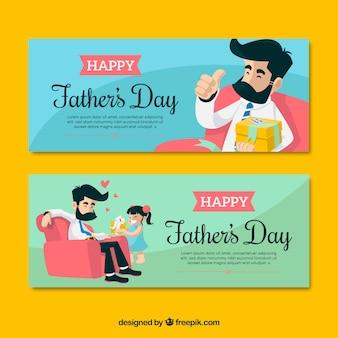 Conjunto de banners de día del padre en estilo plano