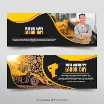Conjunto de banners de día laboral en estilo hecho a mano