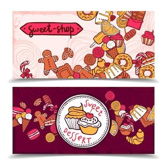 Conjunto de banners de dulces vintage sweetshop