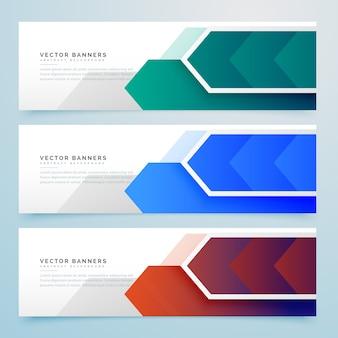 Conjunto de banners de flechas geométricas