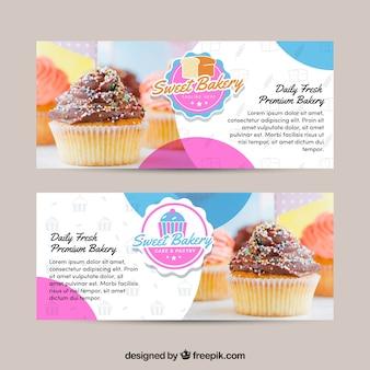 Conjunto de banners de panadería con dulces