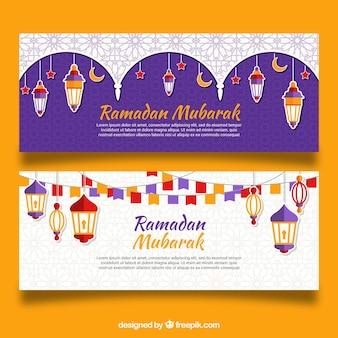 Conjunto de banners de ramadán con lámparas coloridas