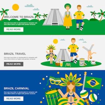 Conjunto de banners planos de cultura brasileña 3