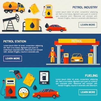 Conjunto de banners planos de gasolinera