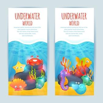 Conjunto de banners verticales de animales marinos bajo el agua