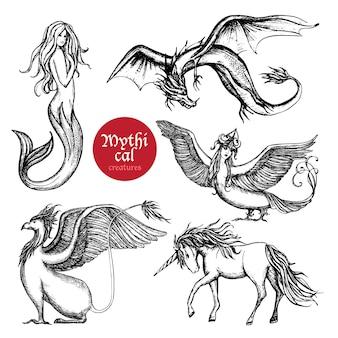 Conjunto de boceto dibujado a mano de criaturas míticas