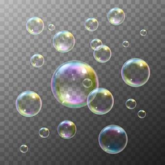 Conjunto de burbujas de jabón
