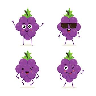 Conjunto de carácter de fruta de uva en emoción de acción diferente