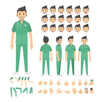 Conjunto de caracteres de enfermera hombre