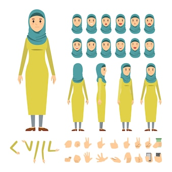 Conjunto de caracteres de mujer árabe