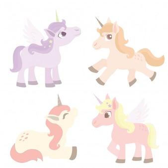 Conjunto de caracteres lindo unicornio