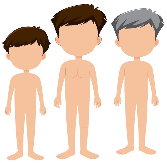 Conjunto de caracteres masculinos en blanco