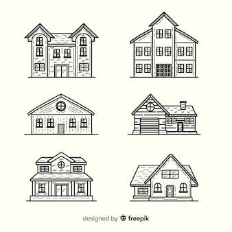 Conjunto de casas dibujadas a mano