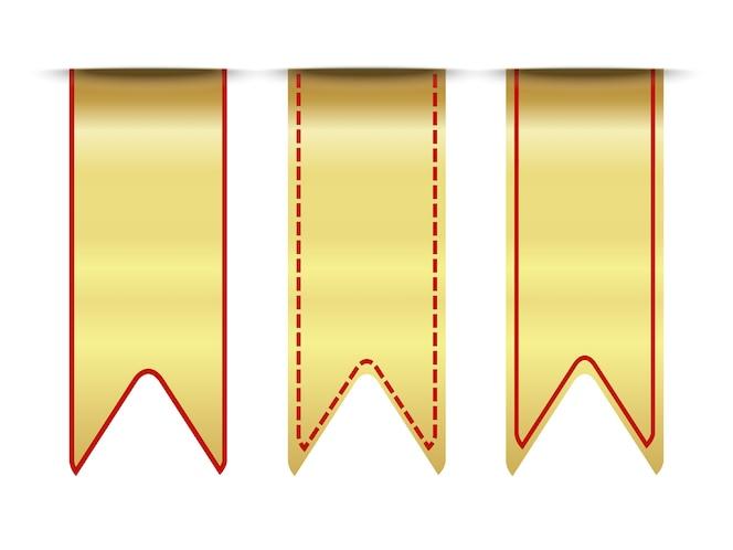 Conjunto de cinta de oro premium en blanco